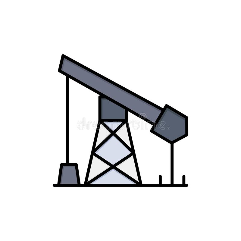 建筑,产业,石油,气体平的颜色象 传染媒介象横幅模板 向量例证