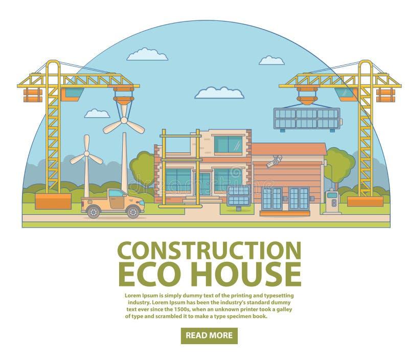 建筑eco房子概念在平的线性样式的传染媒介例证 皇族释放例证