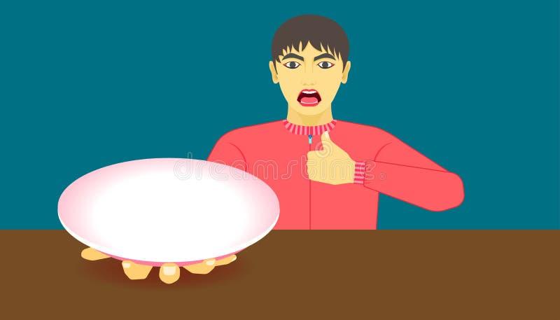 建议使用的膳食 这食物是可口的 显示您的在盘的产品在人的手 美好的颜色背景 皇族释放例证