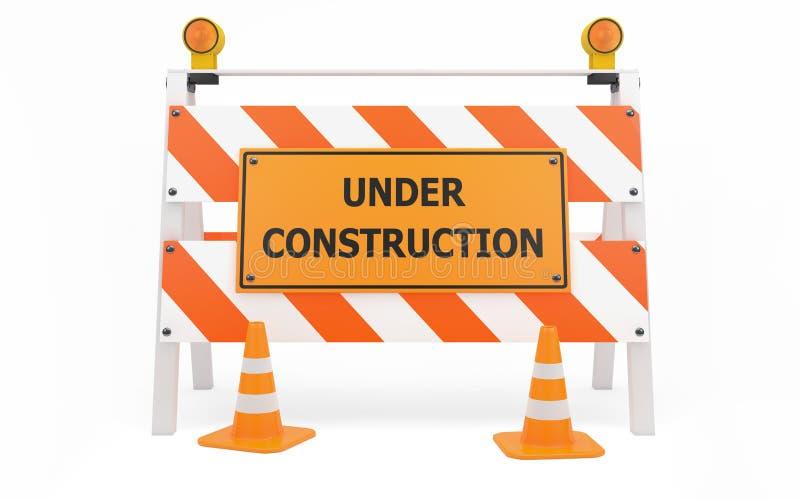 建设中业务量护拦 库存例证