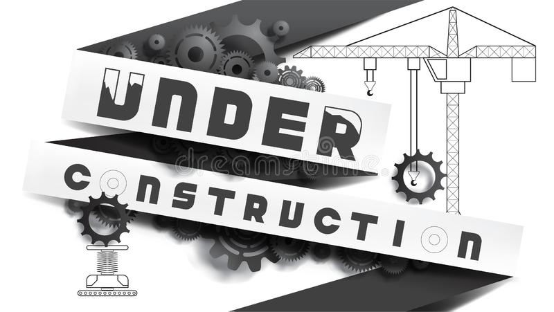 建设中概念 与铅笔图混合的黑白,纸被削减的样式 向量例证