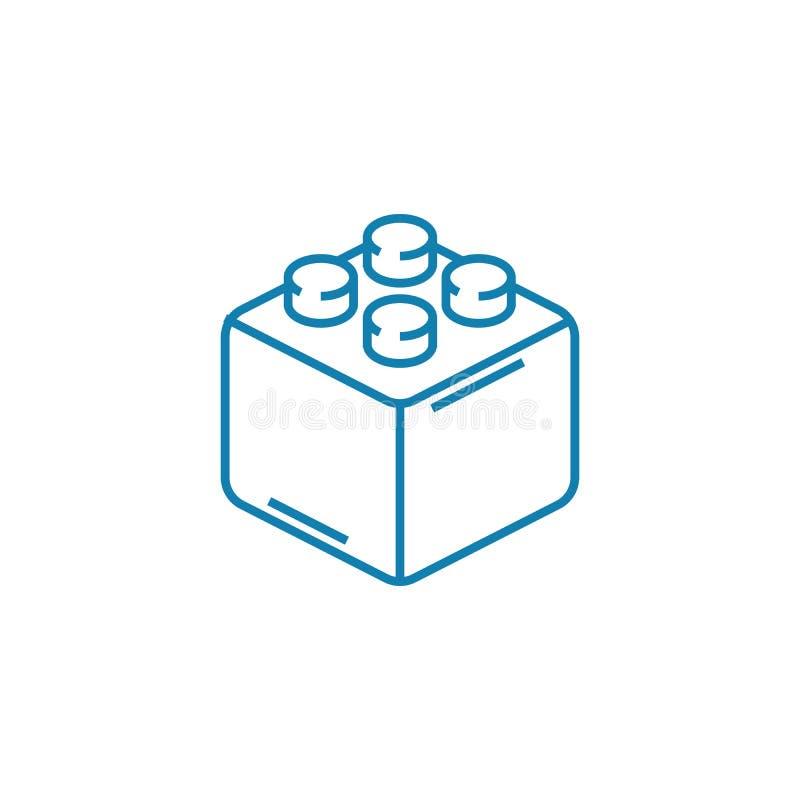 建设者块线性象概念 建设者封闭的线路传染媒介标志,标志,例证 库存例证