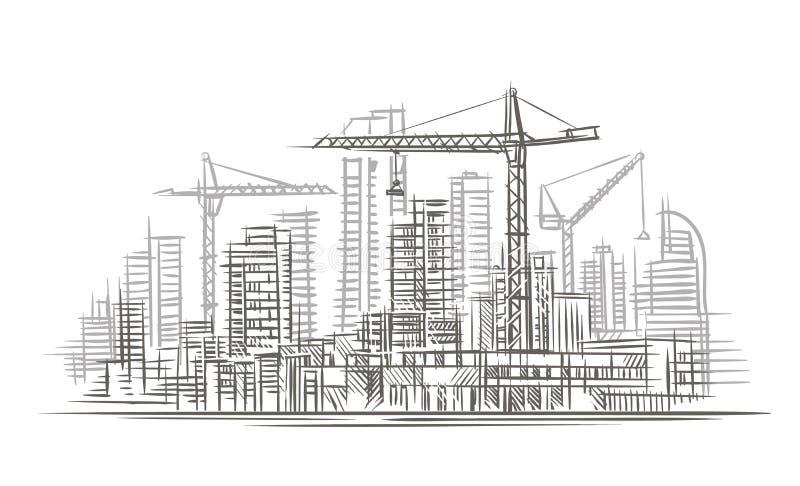 建造场所剪影 向量 分层堆积 库存例证