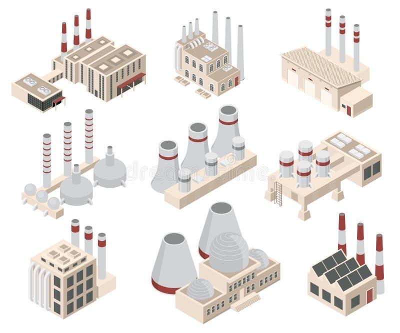 建造工厂或厂房签署3d象设置了等轴测图 ?? 库存例证