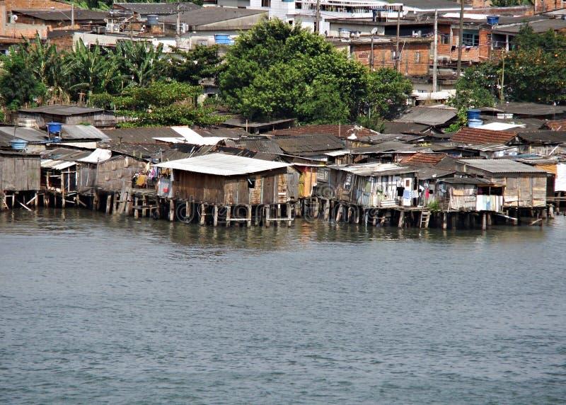 建造的房子在恶劣的水 免版税库存照片