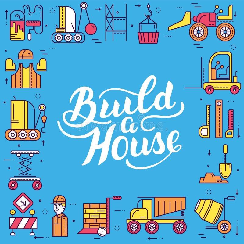建造者做辛苦工作和与重型车辆概念一起使用 工地工作传染媒介设计的平的工作者 皇族释放例证