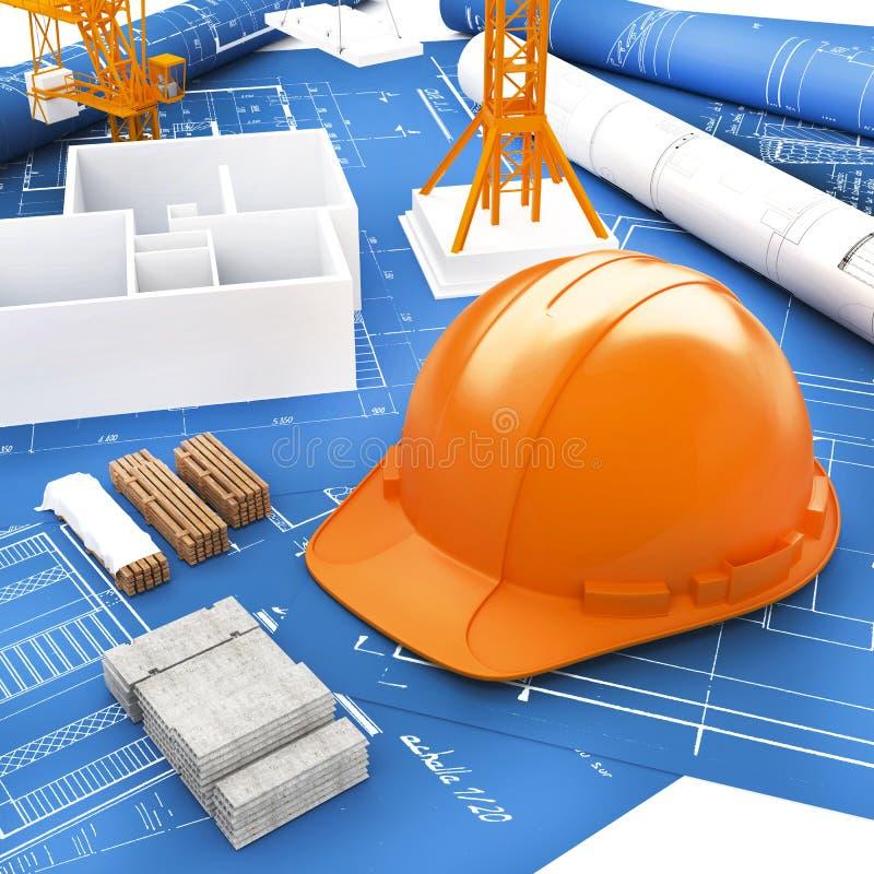 建造者和图纸的橙色盔甲 图库摄影