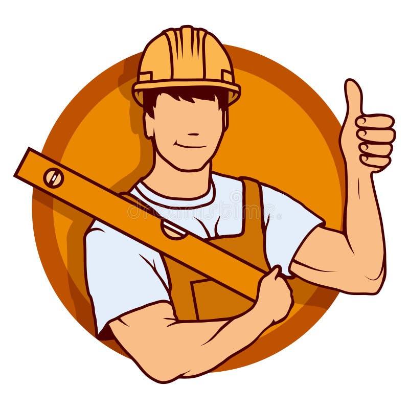 建造者工作者、修造的服务商标、建造者公司商徽、传染媒介例证网的和机动性 皇族释放例证