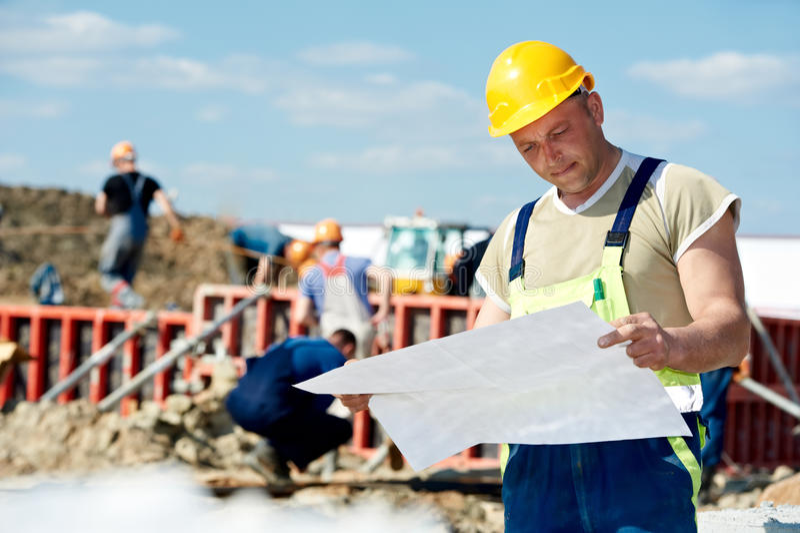建造者建筑草稿工程师站点 库存图片