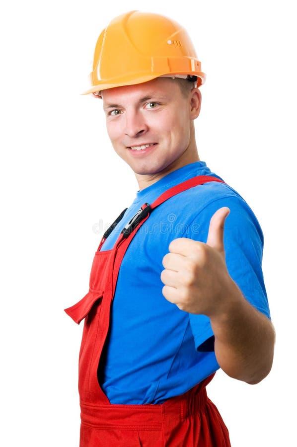 建造者查出的兴高采烈的工作者 免版税库存照片