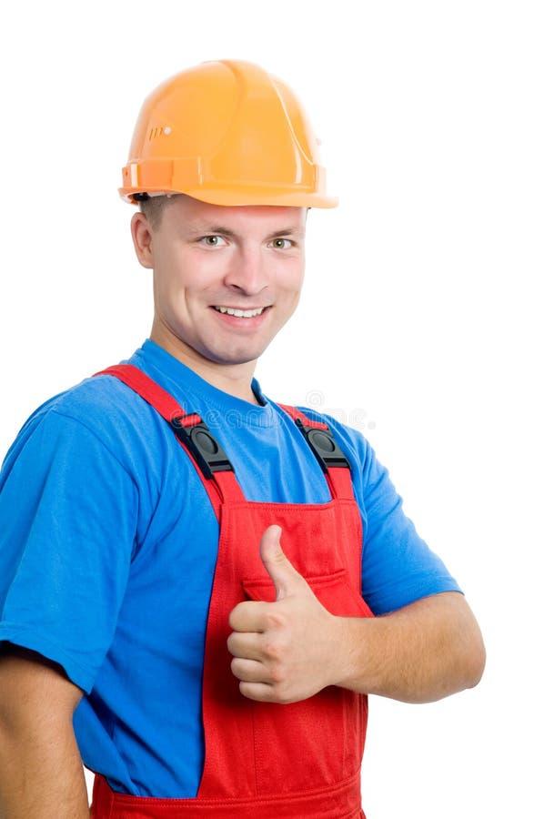 建造者查出的正工作者 免版税库存照片