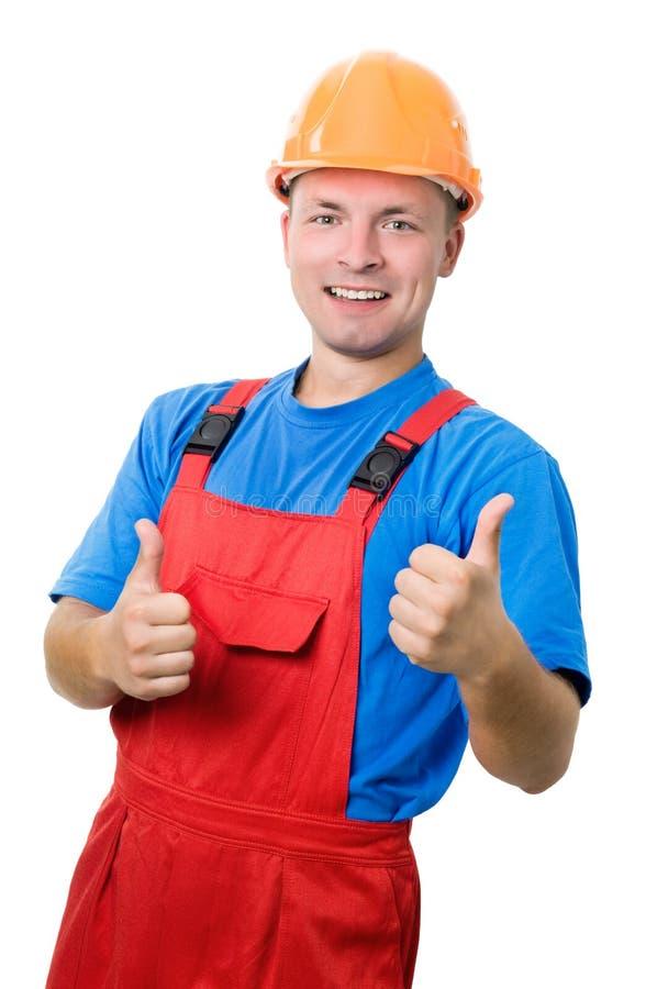 建造者查出的正工作者 免版税库存图片