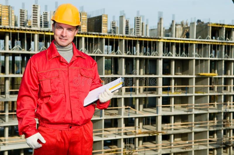 建造者检查员微笑的工作者 库存图片