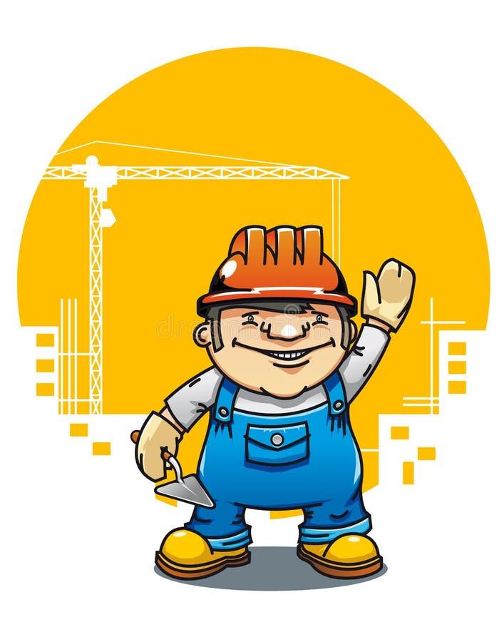 建造者滑稽微笑 库存例证