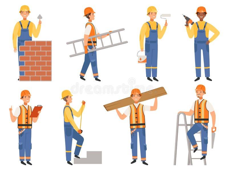建造者漫画人物 工程师或建设者滑稽的吉祥人以各种各样的行动姿势传染媒介人民 库存例证
