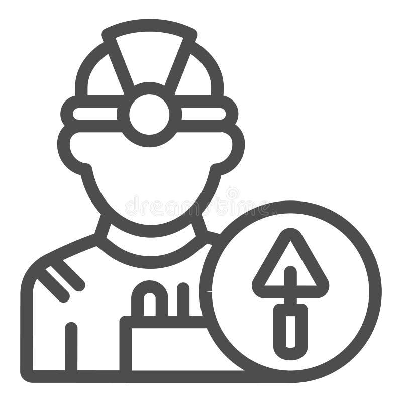 建造者线象 工程师在白色隔绝的传染媒介例证 工作者概述样式设计,设计为网和应用程序 皇族释放例证