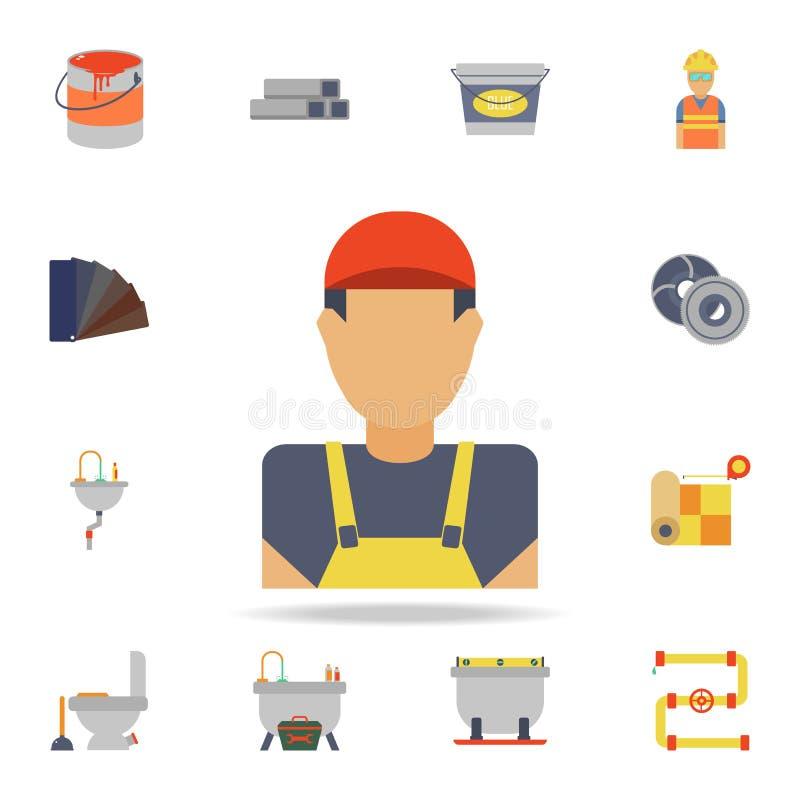 建造者象的颜色具体化 详细的套颜色建筑工具 优质图形设计 其中一个汇集象 库存例证
