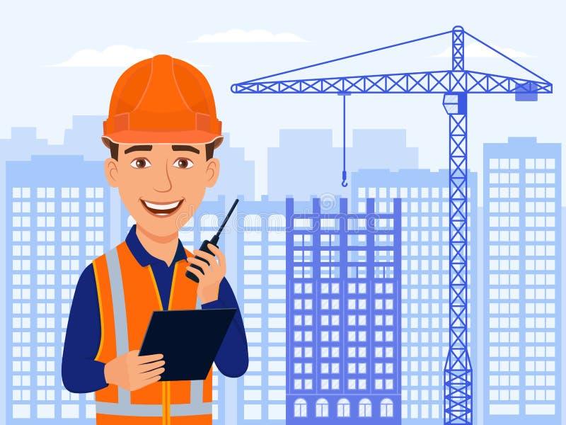 建造者,土木工程师,微笑卡通人物 城市视图、摩天大楼、房子建设中和起重机 向量例证