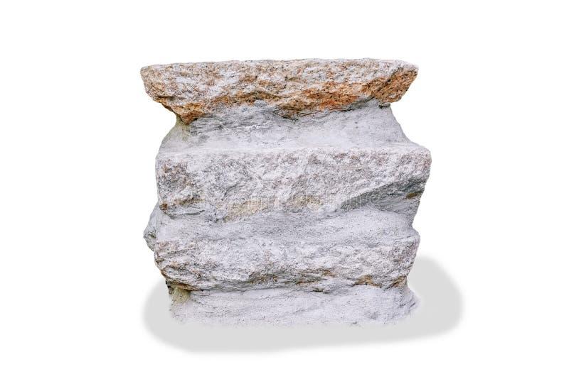 开会的岩石或石头坐的长凳在白色背景的庭院里与裁减路线 库存图片