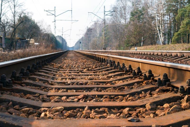 离开入距离的铁路轨道 免版税库存照片