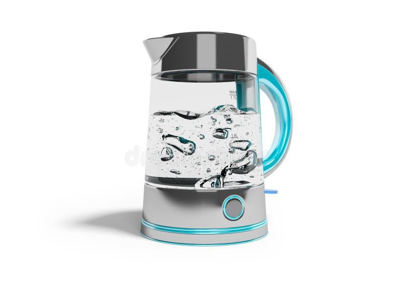 开关的概念在一个电水壶的在与开水3d的立场回报在白色背景的例证与阴影 向量例证