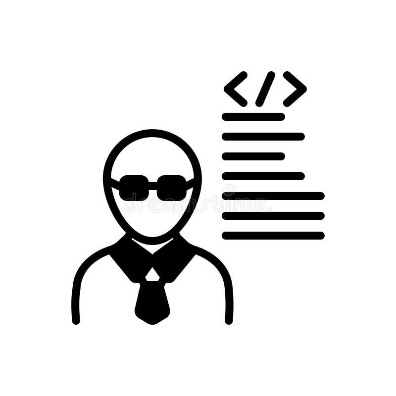 开发商、程序员和人的黑坚实象 库存例证