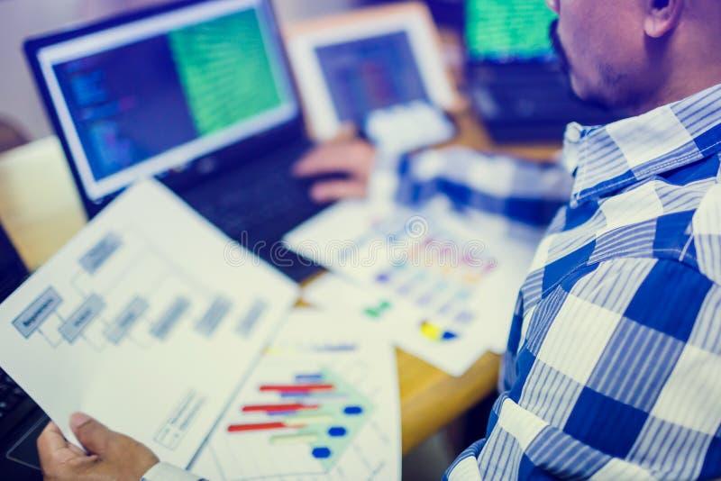 开发商设计在纸图的软件与多计算机和片剂 免版税库存照片