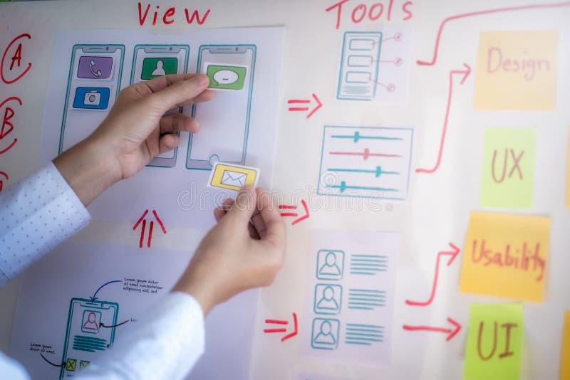 开发在办公室的应用的年轻设计师计划 用户经验设计观念 库存照片