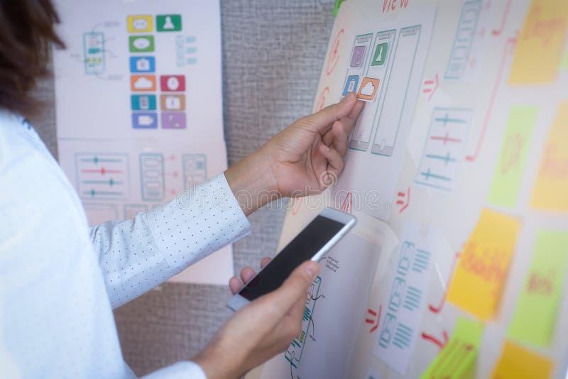 开发在办公室的应用的年轻设计师计划 用户经验设计观念 免版税库存图片
