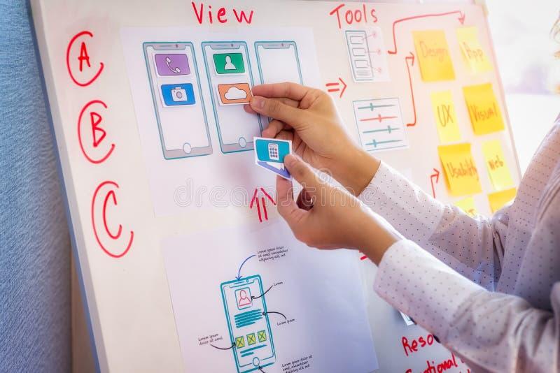 开发在办公室的应用的年轻设计师计划 用户经验设计观念 库存图片