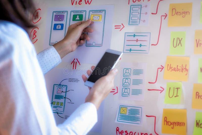 开发在办公室的应用的年轻设计师计划 用户经验设计观念 免版税库存照片