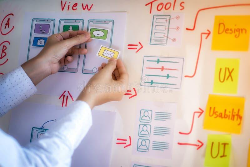 开发在办公室的应用的年轻设计师计划 用户经验设计观念 图库摄影