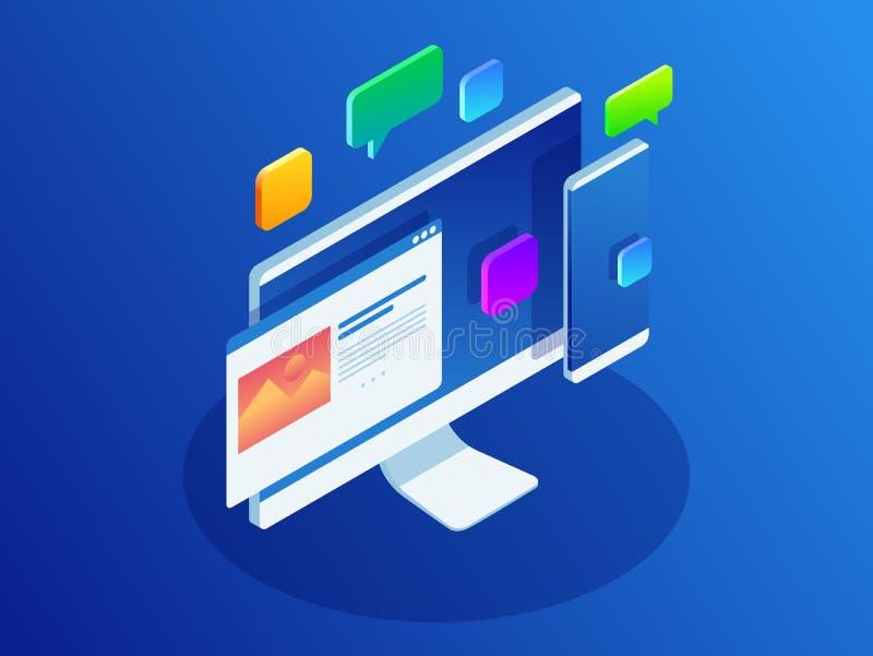 开发的编程和编码技术概念 网站设计 大数据处理,计算的等量传染媒介 库存例证