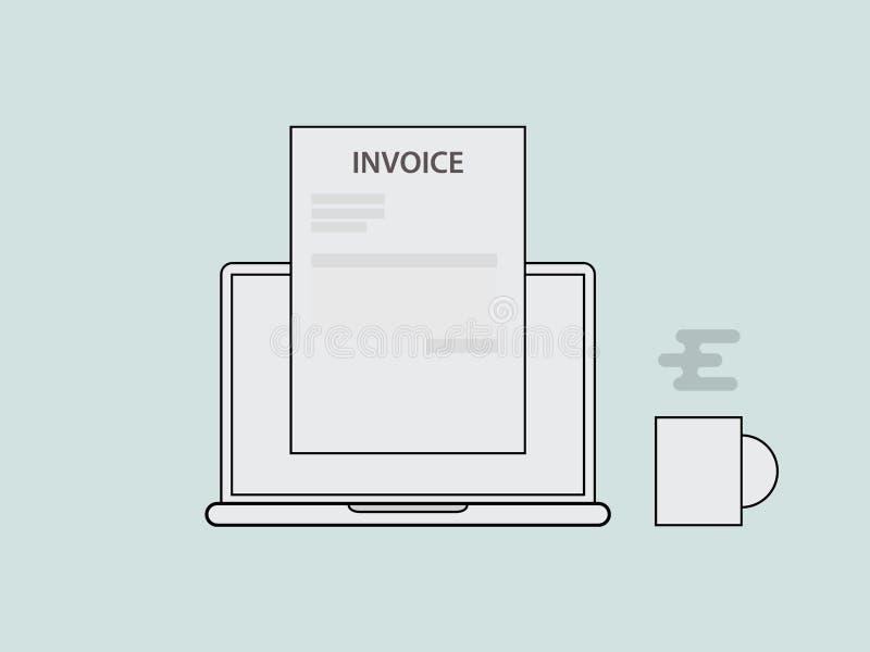 开发票与膝上型计算机的概念例证每杯咖啡和与传染媒介线型的开发票文件 向量例证