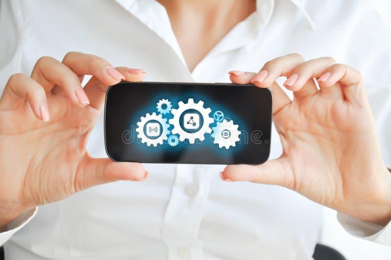 开发移动设备apps技术概念 图库摄影