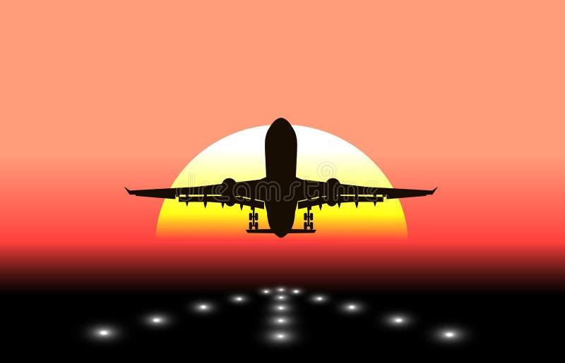 离开在背景中太阳的飞机的剪影 皇族释放例证