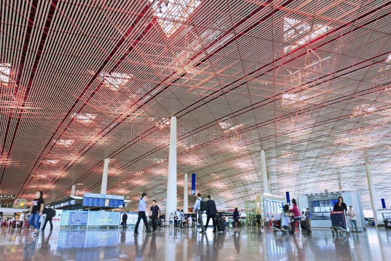 离开大厅北京首都机场终端3 库存照片