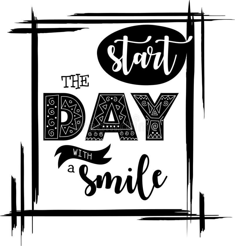 开始与微笑启发行情黑色传染媒介的天 向量例证