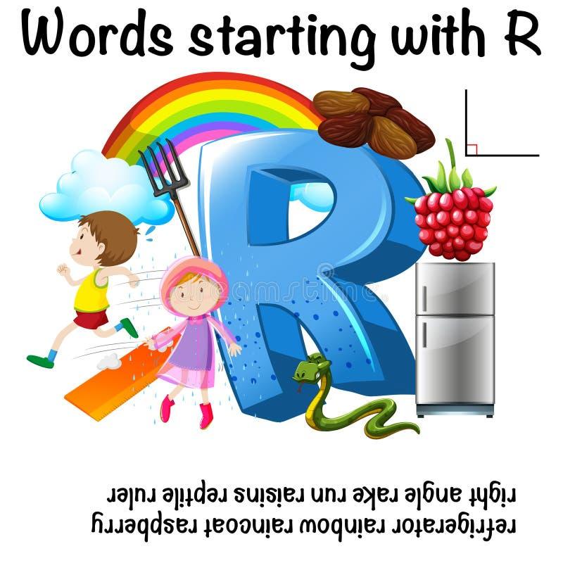 开始以R的词的活页练习题设计 向量例证