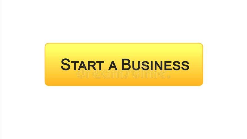 开始企业网接口按钮橙色颜色,发展计划,事业 库存例证