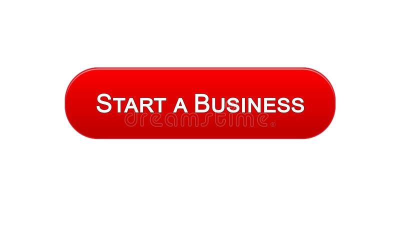 开始企业网接口按钮红颜色,发展计划,事业 库存例证