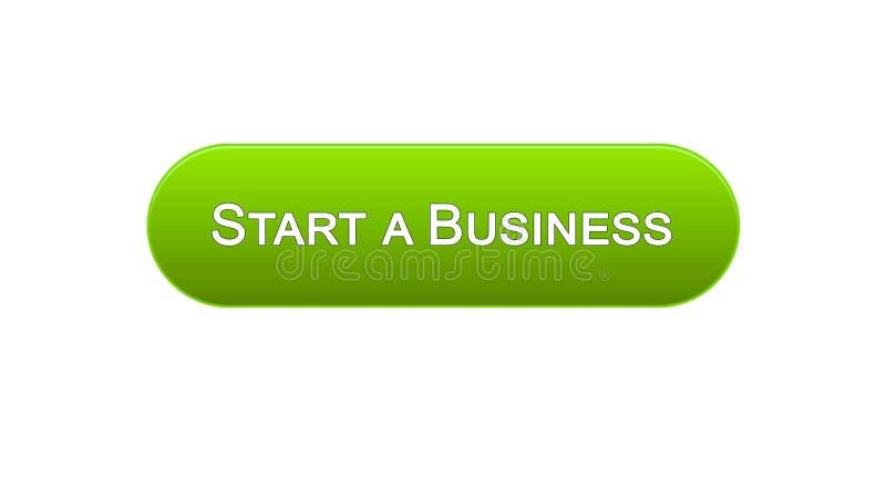 开始企业网接口按钮绿色,发展计划,事业 向量例证