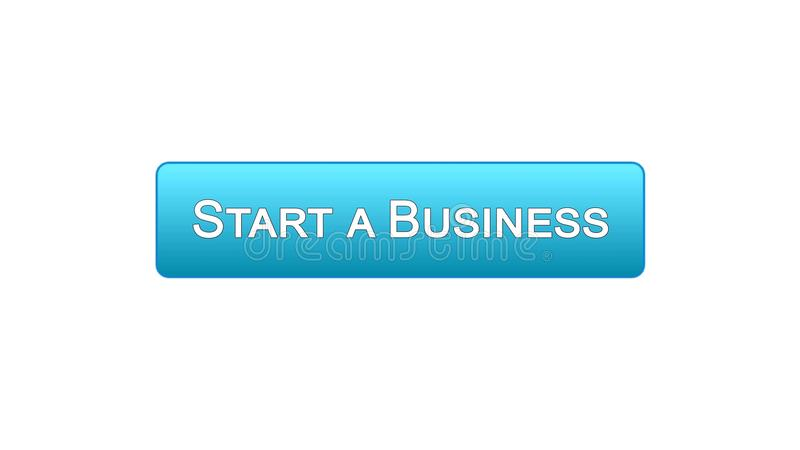 开始企业网接口按钮蓝色颜色,发展计划,事业 库存例证