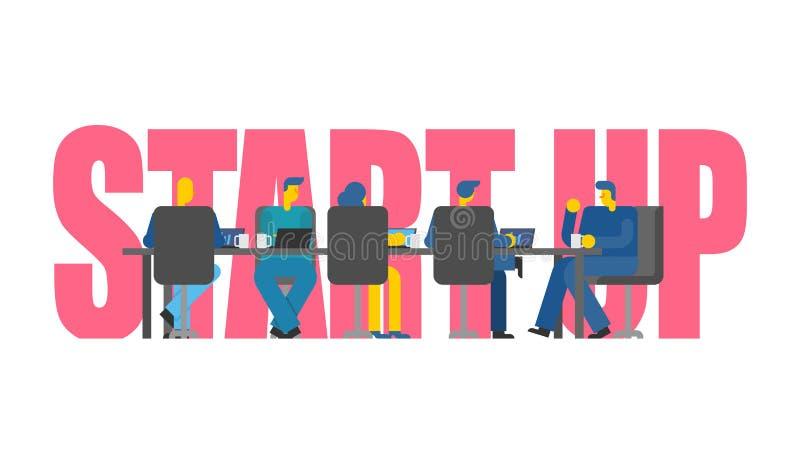 开始企业队在桌上 企业配合 公司de 向量例证