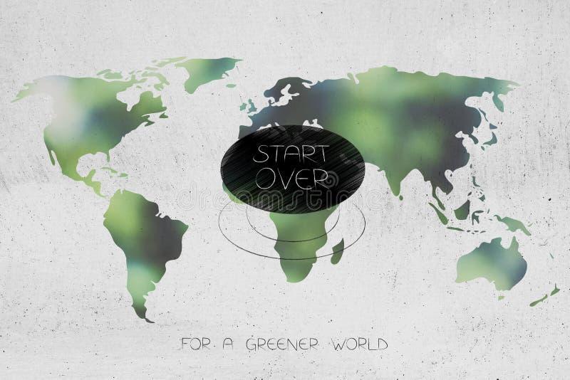 开始在绿色世界地图,生态概念的按钮 库存例证
