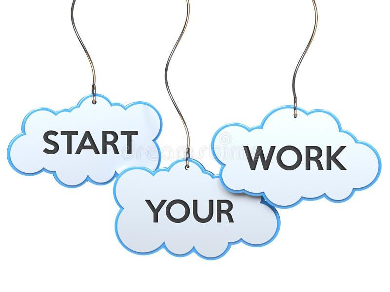 开始您的在云彩横幅的工作 库存例证
