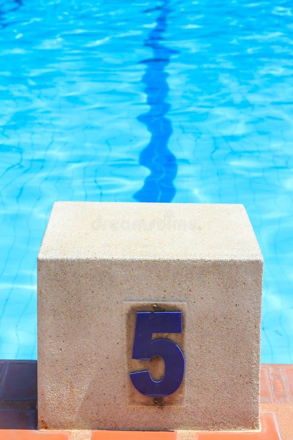 开始游泳的块池 免版税库存照片