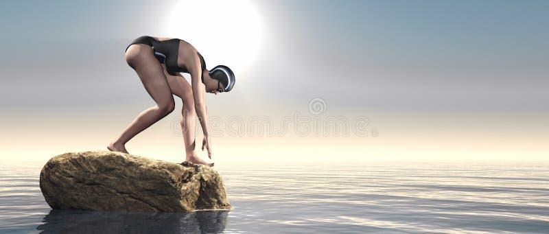 开始的年轻游泳者 向量例证