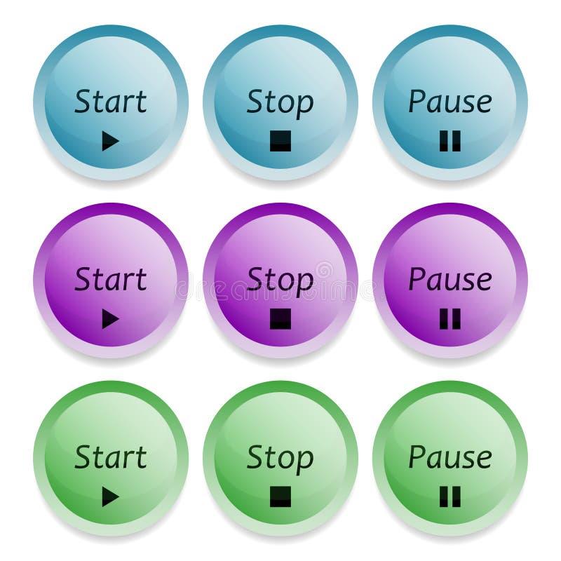 开始,中止和停止按钮 库存例证