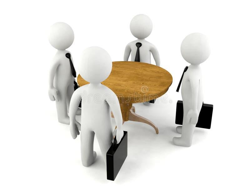 开小组3D的人业务会议 库存例证